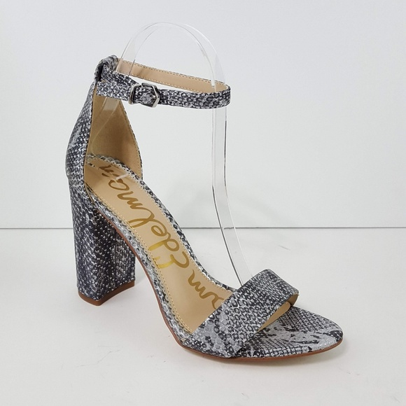 652ae7e22c3  Sam Edelman  Yaro Silver Snake Print Heel Sandals